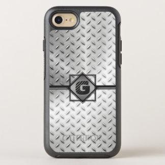 Industrial Diamond Plate Steel, Monogrammed OtterBox Symmetry iPhone 8/7 Case