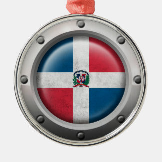 Industrial Dominican Republic Flag Steel Graphic Silver-Colored Round Decoration