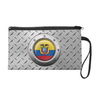 Industrial Ecuadorian Flag with Steel Graphic Wristlet Purses