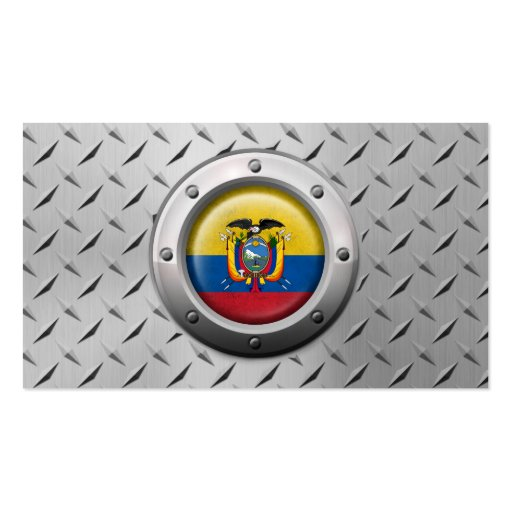 Industrial Ecuadorian Flag with Steel Graphic Business Card Template