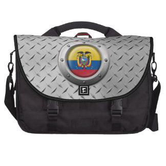 Industrial Ecuadorian Flag with Steel Graphic Laptop Messenger Bag