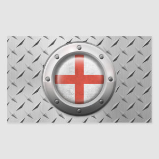 Industrial English Flag with Steel Graphic Rectangular Sticker