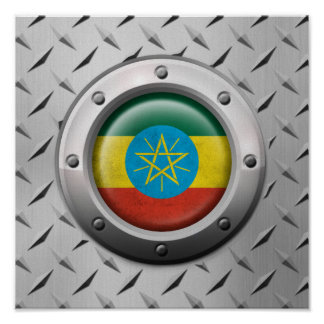 Industrial Ethiopian Flag with Steel Graphic Poster