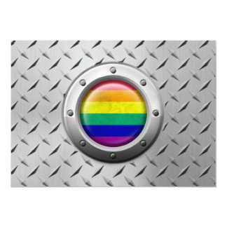 Industrial Gay Pride Rainbow Flag Steel Graphic Personalized Announcements