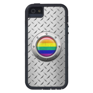 Industrial Gay Pride Rainbow Flag Steel Graphic iPhone 5 Cover