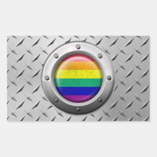 Industrial Gay Pride Rainbow Flag Steel Graphic Rectangular Sticker