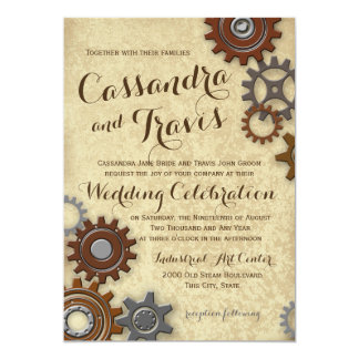 Industrial Gears Rustic Wedding Card