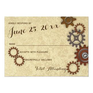Industrial Gears Rustic Wedding Response 13 Cm X 18 Cm Invitation Card