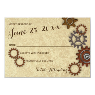 Industrial Gears Rustic Wedding Response Card