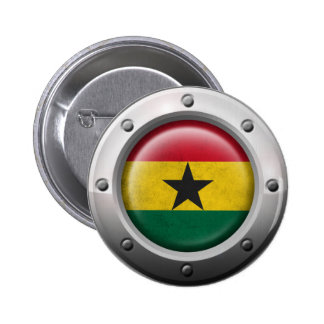 Industrial Ghana Flag with Steel Graphic Pinback Button