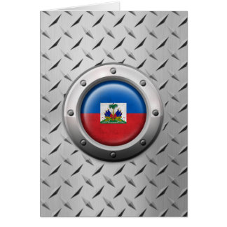 Industrial Haitian Flag with Steel Graphic Greeting Card