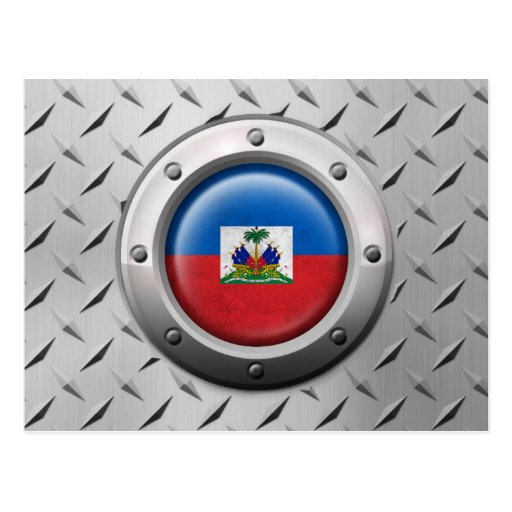 Industrial Haitian Flag with Steel Graphic Postcard
