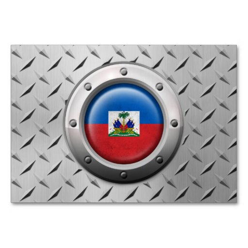 Industrial Haitian Flag with Steel Graphic Table Cards