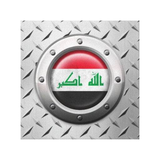 Industrial Iraqi Flag with Steel Graphic Canvas Print