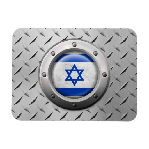 Industrial Israeli Flag with Steel Graphic Vinyl Magnets