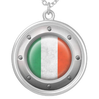 Industrial Italian Flag with Steel Graphic Custom Necklace