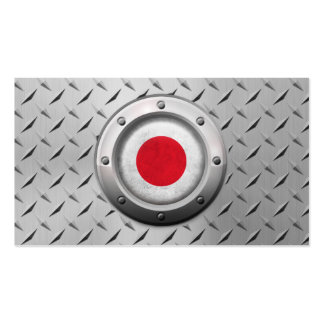 Industrial Japanese Flag with Steel Graphic Business Cards