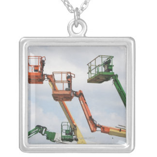 Industrial lifting platforms silver plated necklace