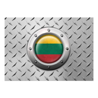 Industrial Lithuanian Flag with Steel Graphic Invitation