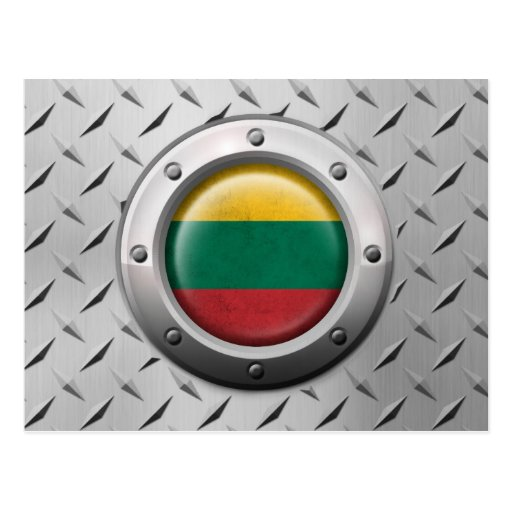 Industrial Lithuanian Flag with Steel Graphic Post Card