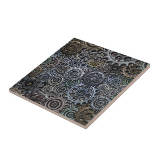 Industrial Metal Gear Design Small Square Tile