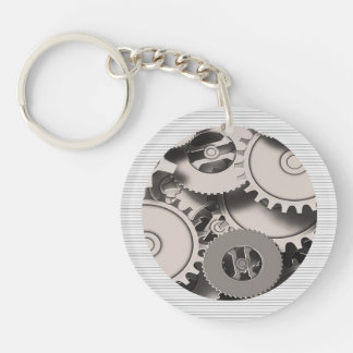 Industrial Metal Gears Single-Sided Round Acrylic Key Ring