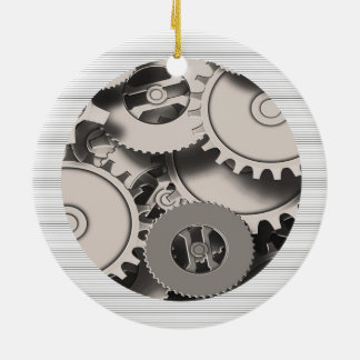 Industrial Metal Gears Round Ceramic Decoration