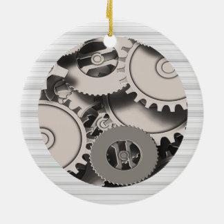Industrial Metal Gears Round Ceramic Decoration