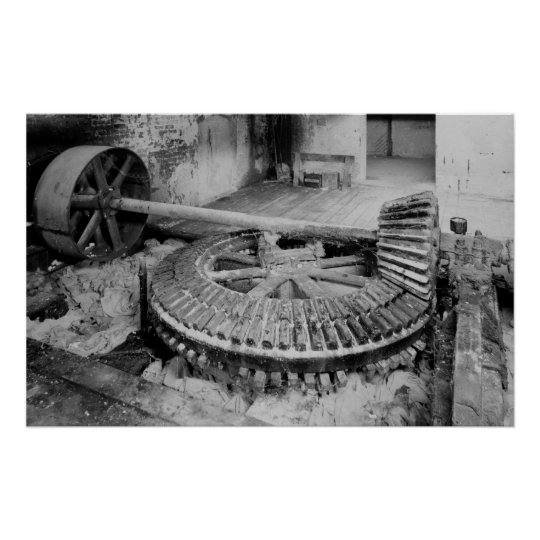 Industrial Photo - Paper Mill Wooden Gears Poster
