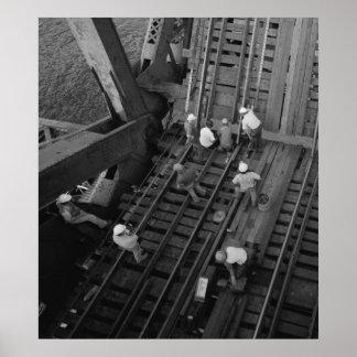 Industrial Photo - Railroad Bridge Workers Poster