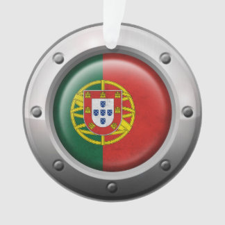 Industrial Portuguese Flag with Steel Graphic Ornament