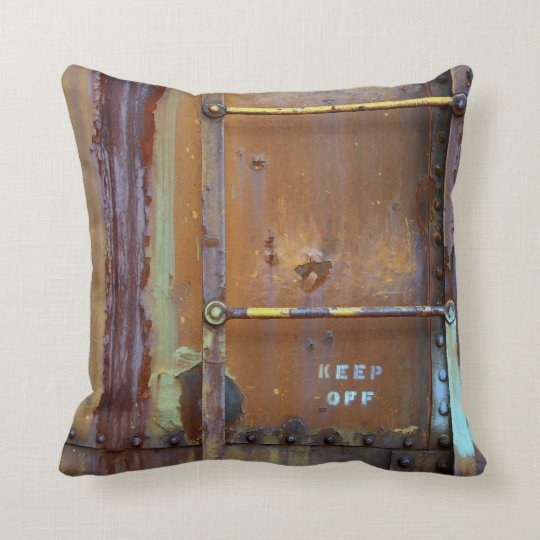 Industrial Rust: Keep Off Photography Cushion