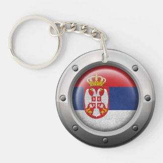Industrial Serbian Flag with Steel Graphic Double-Sided Round Acrylic Key Ring