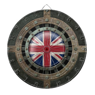 Industrial Steel British Flag Disc Graphic Dartboard