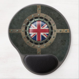 Industrial Steel British Flag Disc Graphic Gel Mouse Pad