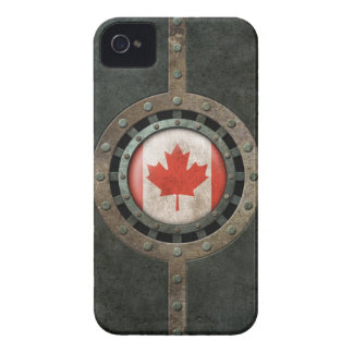 Industrial Steel Canadian Flag Disc Graphic iPhone 4 Case-Mate Case