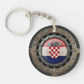 Industrial Steel Croatian Flag Disc Graphic Key Ring