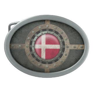 Industrial Steel Danish Flag Disc Graphic Oval Belt Buckles