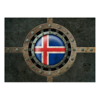 Industrial Steel Icelandic Flag Disc Graphic Business Card
