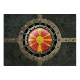 Industrial Steel Macedonian Flag Disc Graphic Business Cards