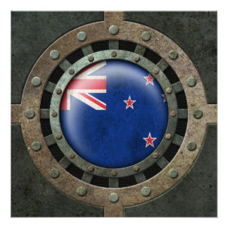 Industrial Steel New Zealand Flag Disc Graphic Announcement