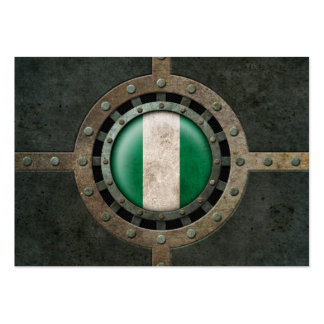 Industrial Steel Nigerian Flag Disc Graphic Large Business Cards (Pack Of 100)