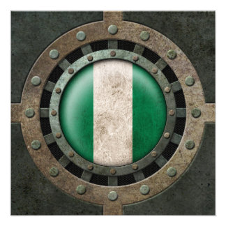 Industrial Steel Nigerian Flag Disc Graphic Personalized Announcement