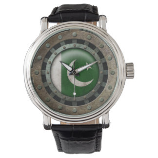 Industrial Steel Pakistani Flag Disc Graphic Wristwatches