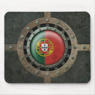 Industrial Steel Portuguese Flag Disc Graphic Mouse Pad