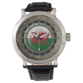 Industrial Steel Welsh Flag Disc Graphic Wristwatch