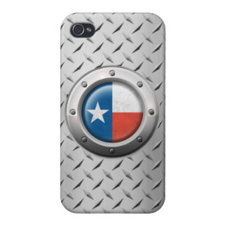 Industrial Texas Flag with Steel Graphic Covers For iPhone 4
