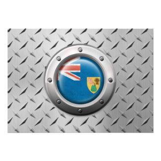Industrial Turks and Caicos Flag Steel Graphic Custom Invitation