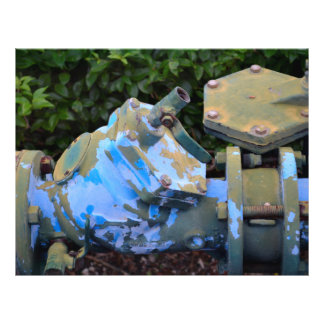 industrial valve blue paint flake steampunk 21.5 cm x 28 cm flyer
