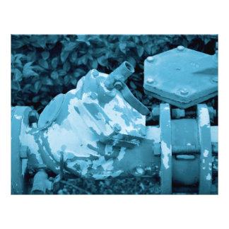 industrial valve blue steampunk image 21.5 cm x 28 cm flyer